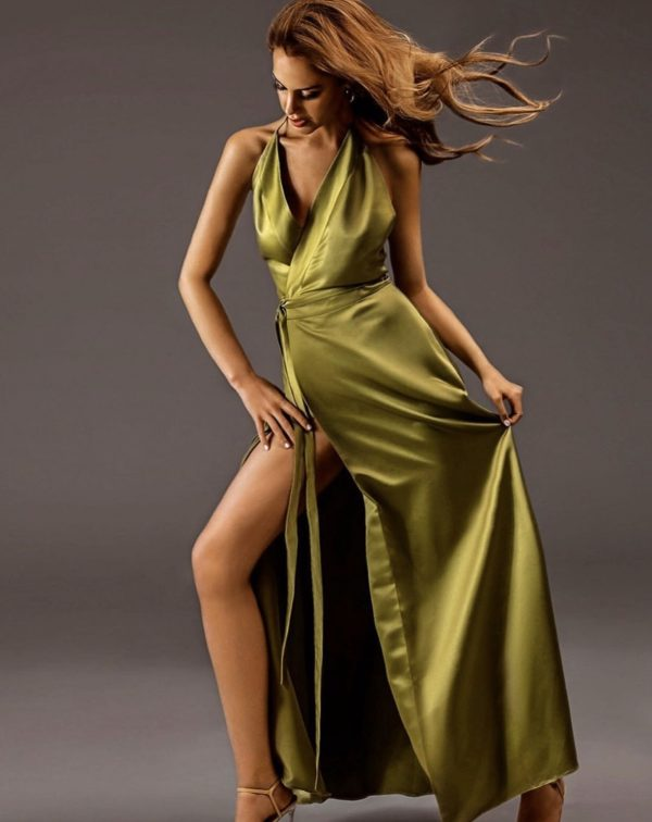 kirsiva-green-olive-dress-front